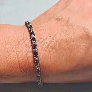 Diamond & sapphire sterling silver tennis bracelet